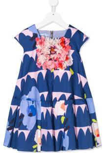 Mi Mi Sol Vestido Com Aplicação Floral E Estampa - Azul