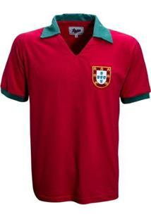 Camisa Liga Retrô Portugal 1972 Infantil - Masculino-Vermelho