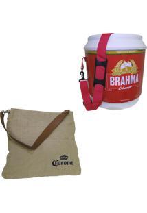 Cooler Térmico Brahma Brasil 20 Litros + Bolsa Corona Bag 2 Bolsos Externos