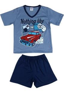Pijama Curto Infantil Pra Menino - Azul Marinho/Azul
