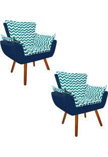 Kit 02 Poltrona Decorativa Opala Suede Composê Estampado Zig Zag Verde Tiffany D78 E Suede Azul Marinho - D'Rossi