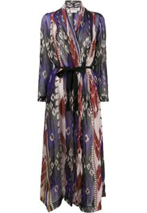 Forte Forte Abstract Print Belted Coat - Azul