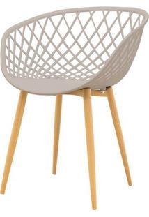 Cadeira Clarice Assento Em Polipropileno Nude Com Base Palito Cor Madeira - 51839 Sun House
