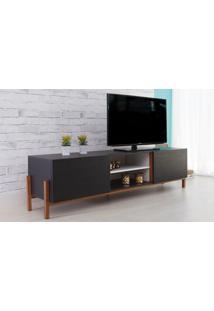 Rack Para Tv Preto Moderno Vintage Retrô Com 2 Portas Preto Eric - 186X43,6X48,5 Cm