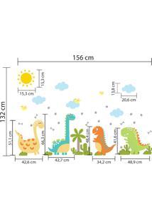 Adesivo De Parede Quartinhos Dinossauros Verde/Laranja