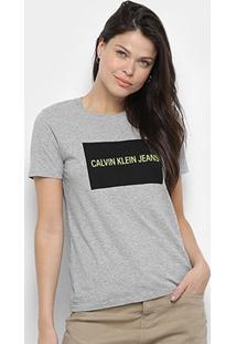 Camiseta Calvin Klein Manga Curta Feminina - Feminino-Mescla