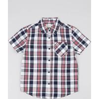 960851123 Camisa Infantil Estampada Xadrez Com Bolso Manga Curta Branca