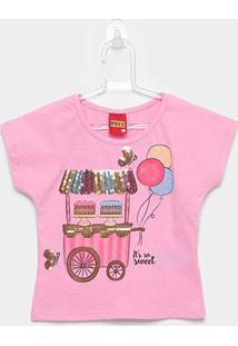 Blusa Infantil Kyly Paetês So Sweet Feminina - Feminino-Rosa