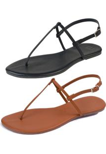 Kit 2 Pares Sandã¡Lia Rasteira Simples Mercedita Shoes Napa Preto E Caramelo - Preto - Feminino - Dafiti