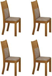 Conjunto Com 4 Cadeiras Havaí Imbuia E Cinza