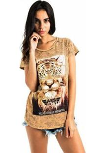 Camiseta Aes 1975 Animals Feminina - Feminino-Bege