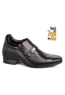 Sapato Social Couro Rafarillo Masculino Tressê Bridão Salto Preto