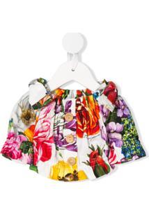 Dolce & Gabbana Kids Vestido Ombro A Ombro Com Estampa Floral - Branco