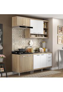 Cozinha Compacta Sicília 7 Portas Com Balcão Sem Pia Branco/Argila - Multimóveis