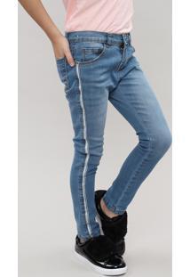 Calça Jeans Infantil Com Faixa Lateral De Brilho Jeans Médio