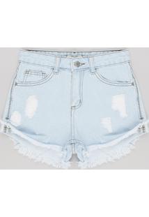 Short Jeans Juvenil Destroyed Azul Claro