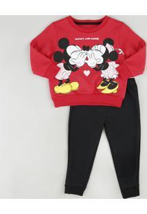 Conjunto Infantil Mickey E Minnie De Blusão Vermelho + Calça Em Moletom Felpado Preta