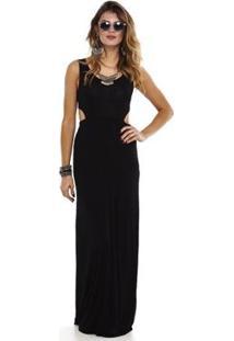 Vestido Manola Longo Com Vazado Na Cintura - Feminino-Preto