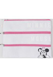 Nécessaire Feminina Minnie Mouse Estampada Com Divisórias Cinza Mescla Claro - Único