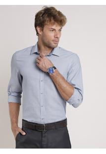 Camisa Social Masculina Comfort Listrada Manga Longa Azul