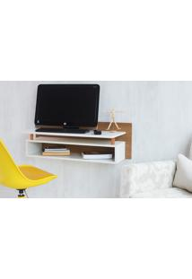 Escrivaninha Moderna Suspensa De Parede Madeira Padrão Freijó E Branca Paul Woodinn - 90X38,5X30 Cm