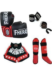 Kit Muay Thai - Luva Bandagem Shorts Caneleira Bucal - Unissex