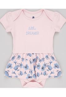 "Body Saia Infantil ""Little Dreamer"" Floral Manga Curta Rosa Claro"