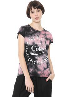 Camiseta Coca-Cola Jeans The Real Thing Preta/Rosa