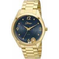 94db43a1702 Okulos. Relógio Feminino Condor Analógico Com Cristais Swarovski  Co2036Kot 4A Dourado
