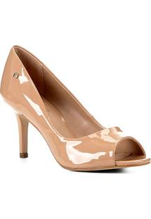 Peep Toe Shoestock Salto Médio Verniz Naked - Feminino-Noz