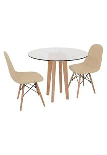 Conjunto Mesa De Jantar Em Vidro 90Cm Com Base Vértice + 2 Cadeiras Botonê - Nude