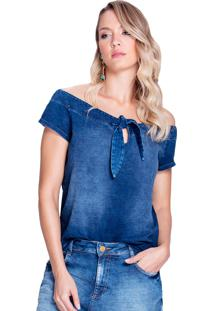 T-Shirt Riccieri Manga Curta Denim