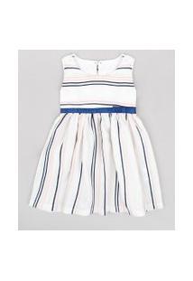 Vestido Infantil Listrado Com Linho E Laço Sem Manga Off White