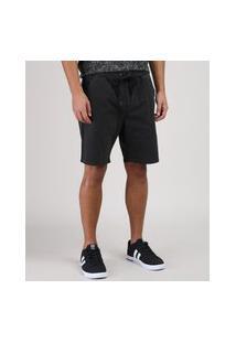 Bermuda Jeans De Moletom Masculina Slim Com Cordão Preta