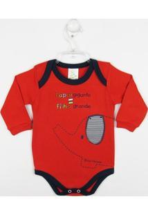 Body Bebê Masculino Manga Longa Elefante Vermelho-M - Masculino-Vermelho