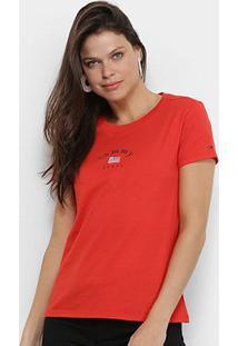 Camiseta Tommy Jeans Tag Feminina - Feminino-Vermelho