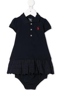 Ralph Lauren Kids Vestido Polo Mangas Curtas Com Logo Bordado - Azul