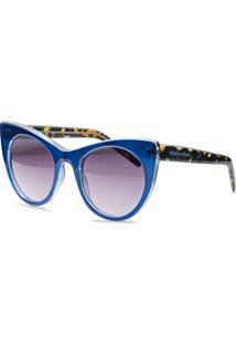 Óculos De Sol Gatinho Em Acetato Azul E Tartaruga