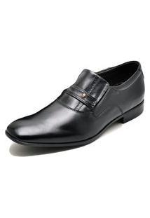 Sapato Social Fepo Store Couro Palmilha Macia Bico Quadrado Preto