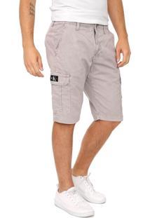 Bermuda Sarja Calvin Klein Jeans Cargo Pespontos Cinza