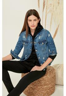 Jaqueta Jeans Tradicional Desfiada Malwee