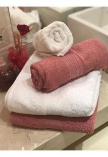 Jogo 4 Peças Toalhas Banho E Rosto Fj2246 - Rosa E Branco
