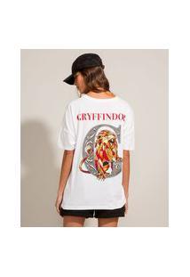 Camiseta Oversized De Algodão Gryffindor Harry Potter Manga Curta Decote Redondo Off White