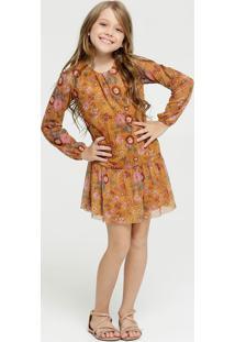 Vestido Infantil Tule Estampa Floral Manga Longa Marisa