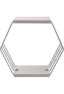 Cubo Hexagonal Com Prateleiras Decorativo- Prateado & Cimetaltru