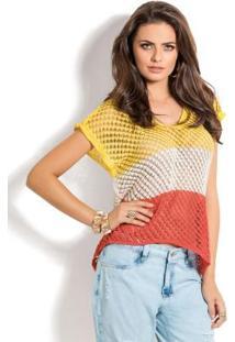 Blusa Furadinha Amarela, Bege E Coral