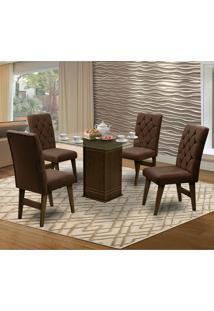 Mesa Para Sala De Jantar Saint Louis Com 4 Cadeiras – Dobuê Movelaria - Castanho / Chocolate