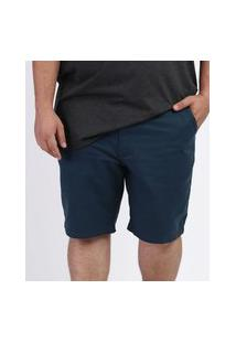 Bermuda De Sarja Masculina Plus Size Reta Chino Azul Petróleo
