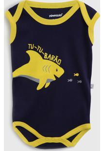 Body Pimpolho Infantil Tubarão Azul-Marinho