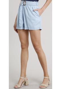 Short Jeans Feminino Clochard Com Fivela E Bolsos Azul Claro